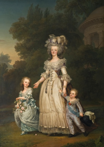 adolf_ulrik_wertmuller_-_queen_marie_antoinette_of_france_and_two_of_her_children_walking_in_the_park_of_trianon_-_google_art_project-copie