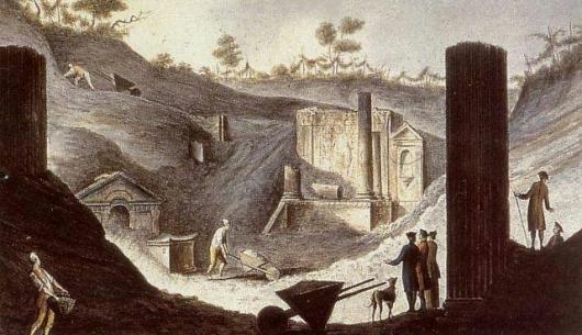dégagement du Temple d'Isis au XVIIIe par Pietro Fabris